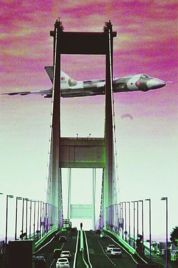 Photo Montage Vulcan XH558 Vulcan Bomber Fly Past Over River Severn Severn Bridge