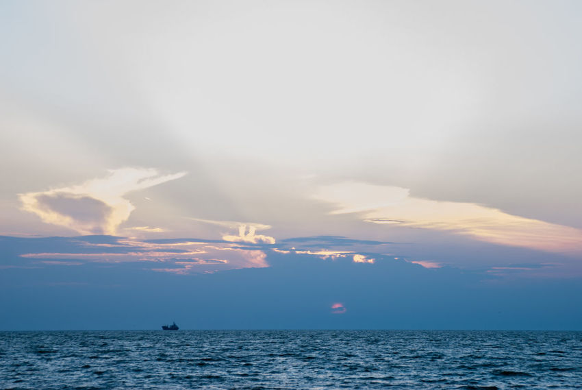 Azov Sea Transportation Beauty In Nature Cloud - Sky Day Horizon Horizon Over Water Idyllic Nature Nautical Vessel No People Outdoors Scenics - Nature Sea Seascape Sky Sunset Tranquil Scene Tranquility Water Waterfront