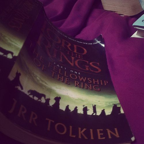 Look what I started reading LOTR Lordoftherings Bilbo Bilbobaggins frodo baggins fellowshipofthering gandalf gandalfthegrey book film perfect