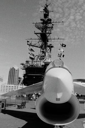 USS Midway  San Diego Sandiego California US Navy Aircraft Carrier Monochrome USA