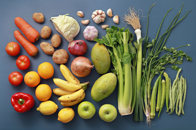 Directly above shot of vegetables and fruits on table