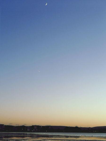 Cresent Beach Moonrise Sunset Moon Sunset Crescent Low Tide