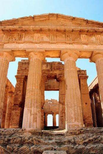 Architecture Greek Temple Valley Of Temples Agrigento Italy Italian Sicily Sicilia Architecture Ancient Built Structure History The Past Sky Old Ruin Ruined Ancient Civilization Old No People Archaeology Bad Condition Damaged Run-down Abandoned Day
