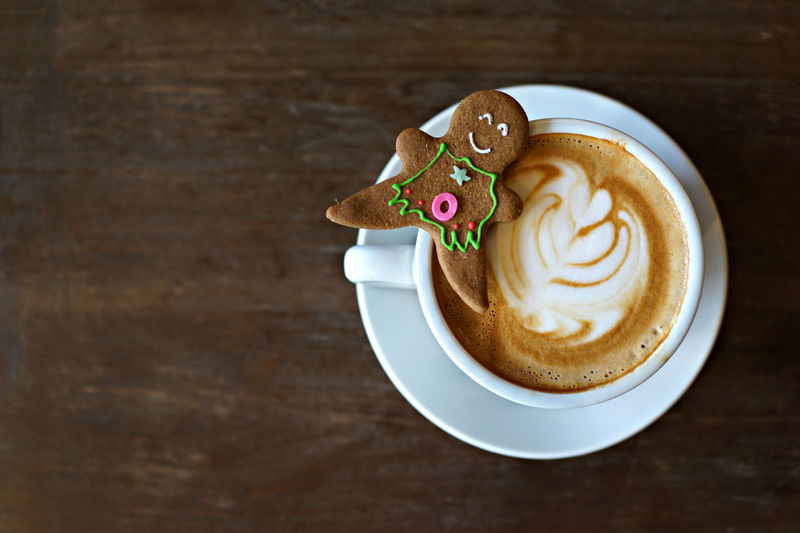 Christmas Cookies Latte Background Cafe Cafe Latte Close-up Coffee - Drink Coffee Cup Day Drink Food Food And Drink Freshness Frothy Drink Ginger Bread Man  Gingerbread Indoors  Latteart No People Table Vintage Winter Drinks Wooden Texture Food Stories