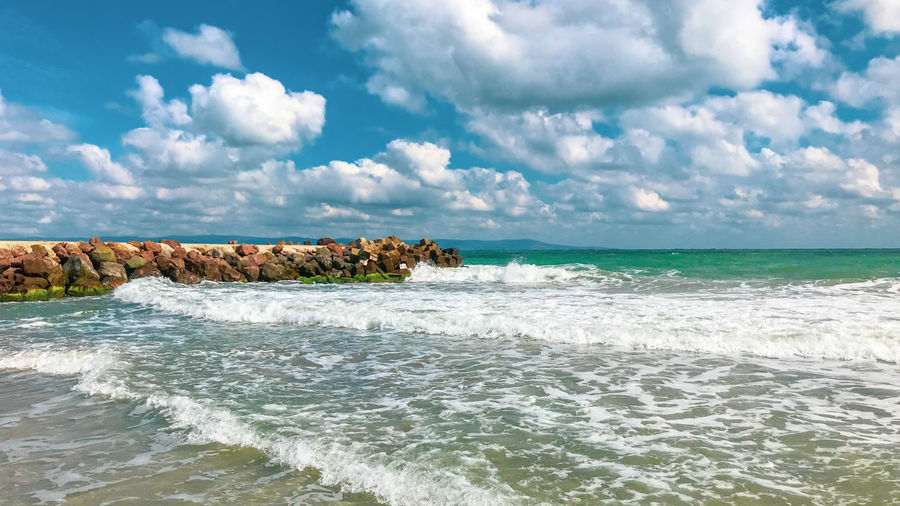 Beautiful sea view from Pomorie, Bulgaria. Beach Beauty In Nature Cloud - Sky Horizon Horizon Over Water Land Motion Nature Outdoors Scenics - Nature Sea Sky Tranquility Water Wave