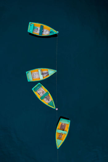 High Angle View Of Boats On Sea