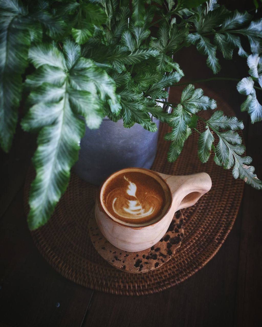 COFFEE CUP ON TABLE AGAINST PLANTS
