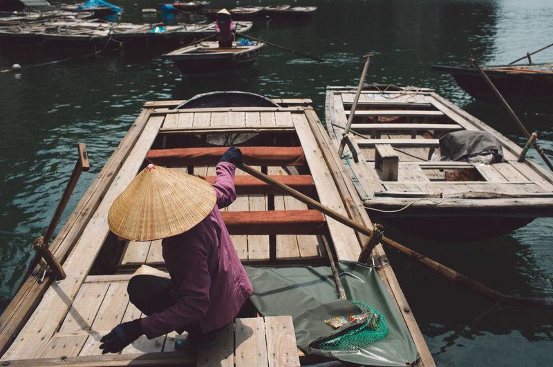 Man boating on river