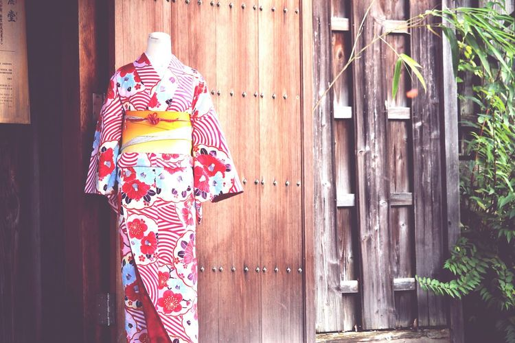 Traditional floral kimono robe on mannequin
