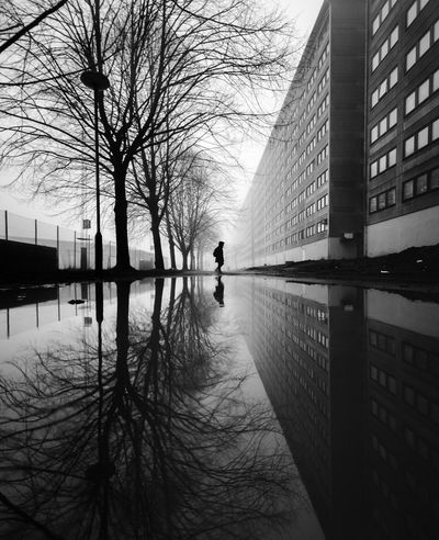 Insta: @lenn.art031 The Week On EyeEm Architecture Reflection Built Structure Reflection Reflection_collection Puddle Reflections Puddleography Urban Ghetto Black & White Blackandwhite Photography Black And White Bnw_friday_eyeemchallenge Outdoors Bare Tree Beauty In Nature Streetphotography Street Photography