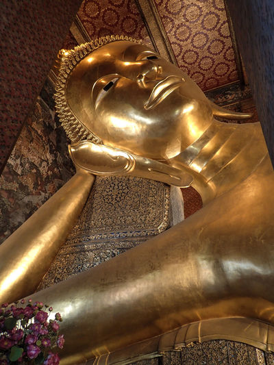 Sleeping Buddha Bangkok Thailand. Spirituality Religion Statue Belief Gold Colored Built Structure Place Of Worship