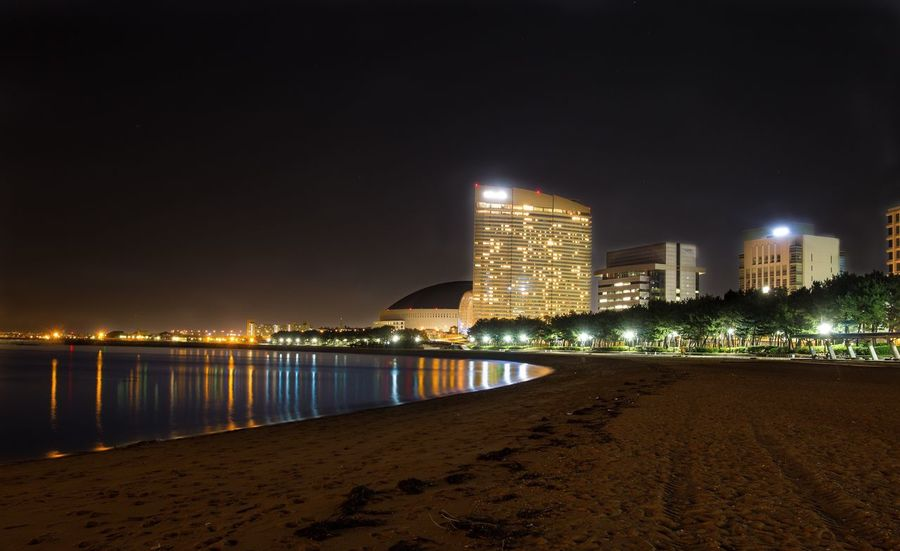 Nature Beach Light Lights Reflection Infrastructure Japan Fukuoka