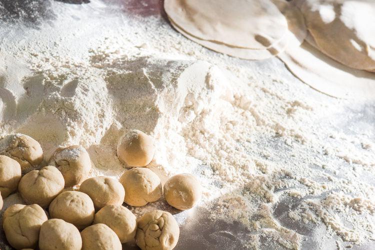 Close up of flour and dough