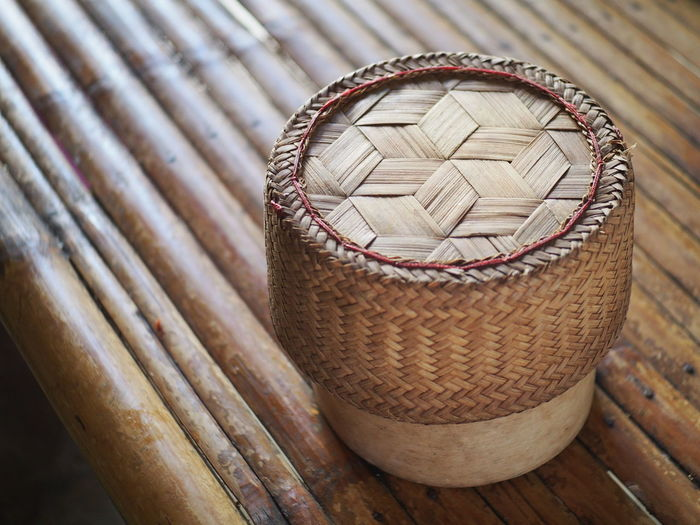 Basket Box Close-up Day Focus On Foreground High Angle View Inthailand Isan Isanfood Kratib Rice No People Outdoors Pattern Wood