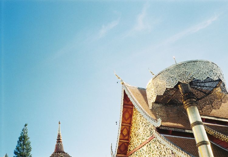 Doi Suthep View Architecture Belief Blue Building Building Exterior Built Structure Day Destination Film Photography Landscape Low Angle View Nature No People Outdoors Place Of Worship Religion Sky Spire  Spirituality Sunlight Temple Travel Travel Destinations