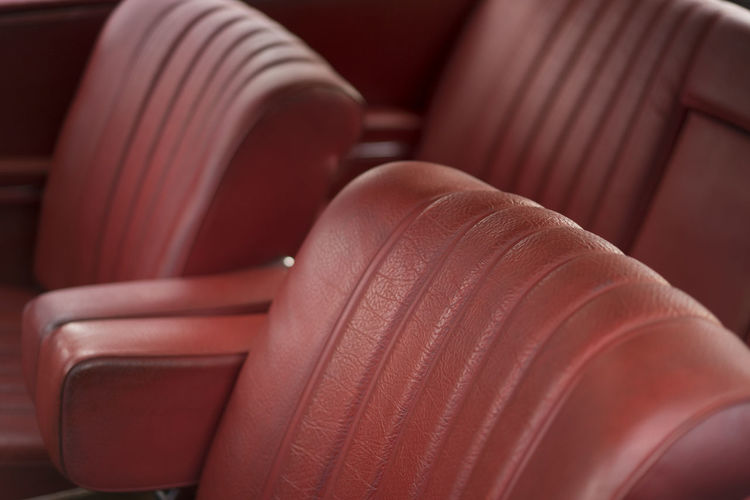 Interior Red Leather Car Arm Car Full Frame Interior Leather Luxury Red Seam Seats Sew Stich Transportation Travel Worn
