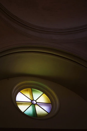 Architectural Feature Atmospheric Church Circle Circular Dark Design Directly Below Geometric Shape Illuminated Low Angle View Monte Del Toro No People Part Of Stained Glass Subtle Light Shades Window Circles Capture Tomorrow