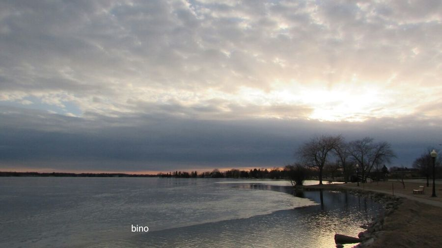 Dramatic Sky Around The Lake Sunset_collection Still Frozen Sunrays_penetrating_clouds Cool_capture_ Lake Cadillac Pure Michigan