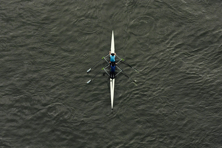 Directly Above Shot Of People Rowing