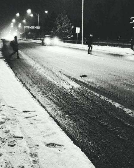 Outdoors Snow People Road City Citystreet Walking