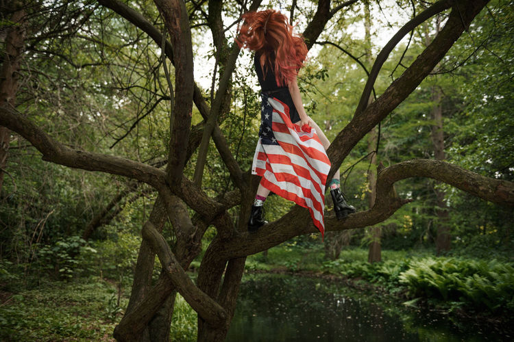 The Civil War Rehearsal Tiergarten Swamp Woods Park Up In A Tree USA FLAG American Flag Red Hair Girl Roots Green Nature Moody Linas Was Here