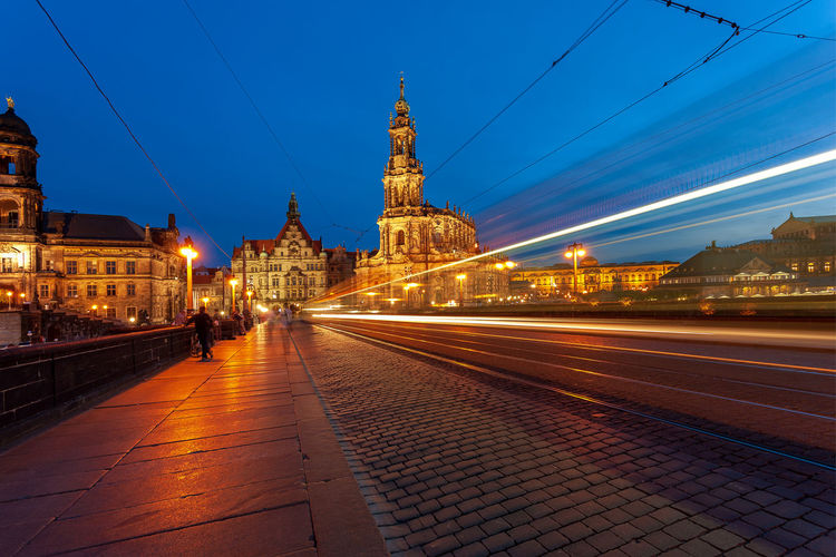 Dresden Cathedral at night, Germany Dresden Cathedral Dresden Germany Catedral Church Tramway Tramway Rail Railroad Track Abstract Architecture Building Exterior Built Structure Illuminated City Sky Travel Destinations Building Night Light Trail History Dusk Long Exposure Motion Street Religion The Past Place Of Worship Nature No People Outdoors