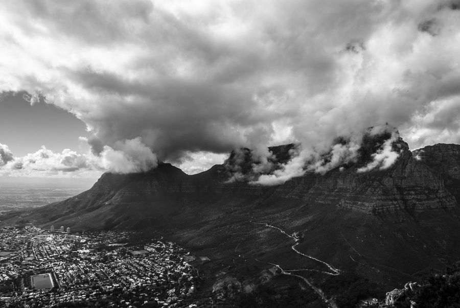 Capetown views Cloudy Mountain Peaks Table Mountain Beauty In Nature Bnw_captures Bnw_collection Bnw_worldwide Cloud - Sky Cloudporn Clouds Mountains Landscape Monochrome Moody Mountain Mountainpeak Nature No People Outdoors Physical Geography Power In Nature Scenics Sky Skyporn Table Mountain View Travel Destinations Black And White Friday