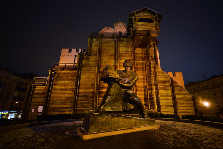 Architecture Building Exterior Built Structure City Golden Gate, Kiev Illuminated Kiev King - Royal Person Night No People Outdoors Sculpture Sky Statue Travel Destinations