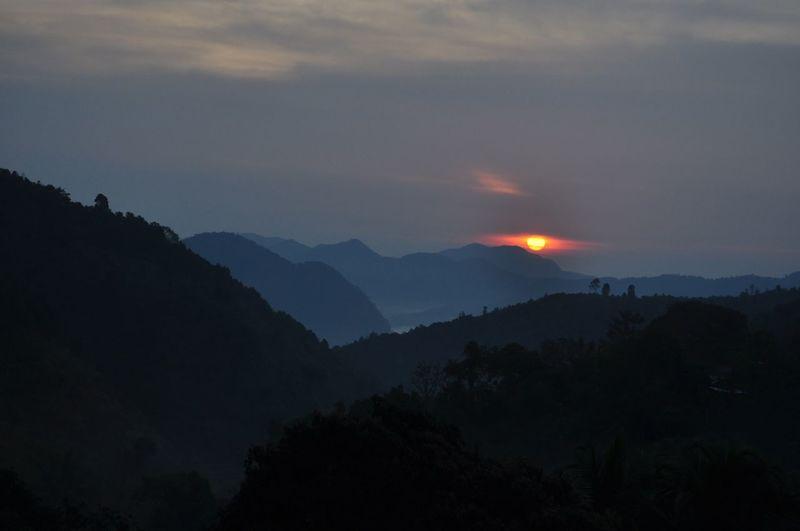 Sky Mountain Scenics - Nature Beauty In Nature Mountain Range Environment Landscape Cloud - Sky Sunset Tree Land Silhouette Non-urban Scene