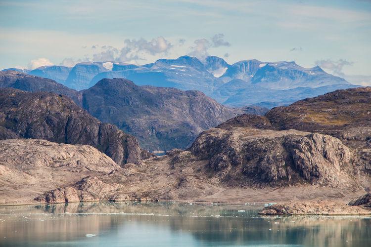 Glacial Greenland Landscape Mountain Nature No People Peak Qalerallit Reflection Scenery Sea Sky Water
