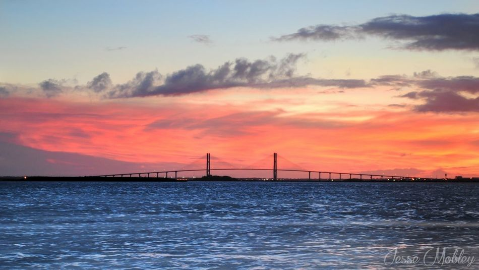 Architecture Beauty In Nature Bridge Bridge - Man Made Structure Built Structure Connection Engineering Idyllic Jekyll Island Nature Orange Color Red Rippled Scenics Sea Sky Sunset Suspension Bridge Tranquil Scene Tranquility Water Waterfront