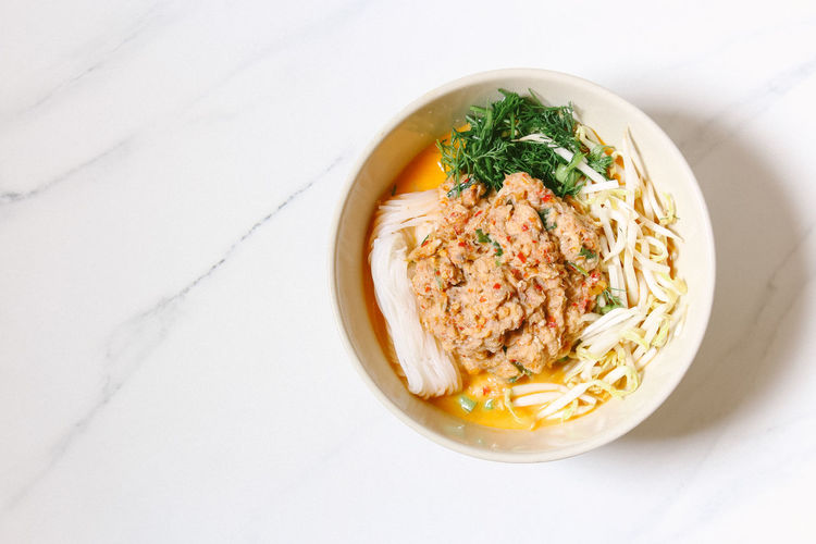 High angle view of pasta in bowl on table