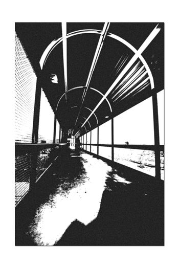 Catwalk @ Train Station 4 Jack London Square Oakland Amtrak Port Of Oakland, Ca Owns Downtown Lines: Capital Corridor,Coast Starlight,San Joaquin Tracks Owned By Union Pacific Black & White Black And White Black And White Collection  Black And White Photography Pattern Pieces Geometric PatternsTorn Edges Edit Overpass Overpass View Arched Architecture