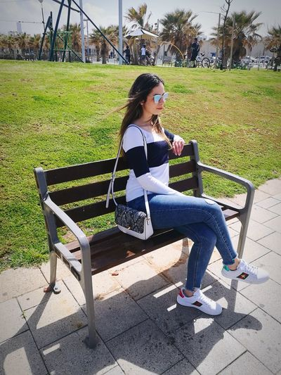 Young Women Full Length Sitting Women Relaxation Park - Man Made Space Beauty Sky Casual Clothing Grass