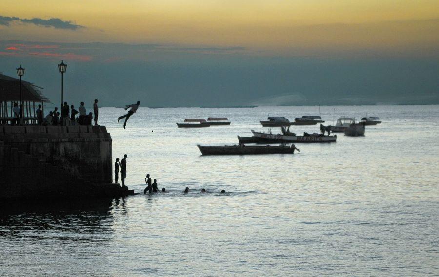 port Africa Tanzania Zanzibar_Tanzania Sunset Sunset Silhouettes See Platform Sea And Sky Swim Swimming Landscape Landscape Sea Water Nautical Vessel Sea Sunset Silhouette Freight Transportation Groyne