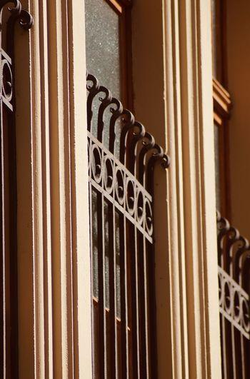 Close-up of metal door of house