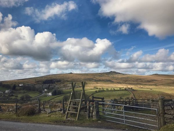 Sky Landscape Tranquil Scene Tranquility Scenics No People Beauty In Nature Outdoors Rural Scene Cloud - Sky Railing Field Nature IPhone Photography Road Exploring