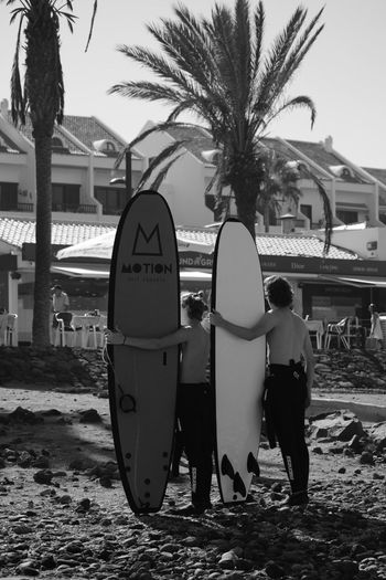Beach Black And White Black And White Photography Day Full Length Outdoors Palm Tree People Sand Sky Tree Tenerife. Playa De Las Americas