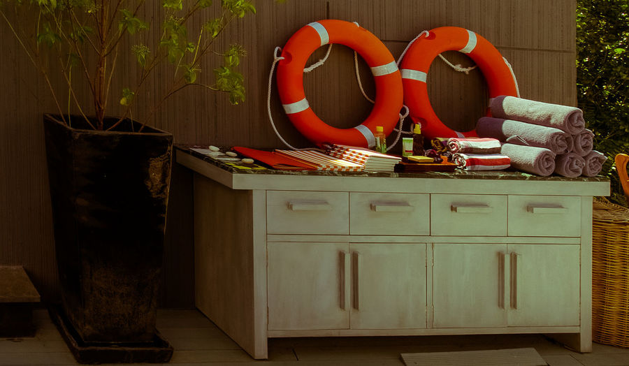 Area By The Pool.. Cabinet Day Indoors  Lifebuoy Lifebuoy Ring Lifebuoy Station No People Wood - Material Zone