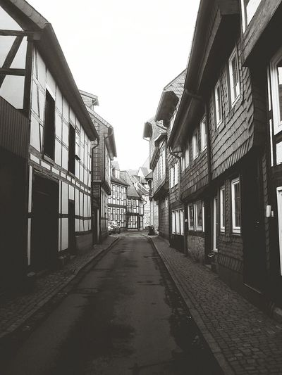 Goslar Town Germany Street Black & White Buildings Fachwerkhäuser