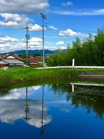 Subject : A Peaceful Sight Seen at the Bank of a Pond. Sky Reflection Cloud - Sky Water Day Tree Outdoors No People Nature Blue Built Structure Beauty In Nature Grass Utility Poles . Taken at Kurose in Higashi-Hiroshima , Japan on Aug. 13, 2017 ( Submitted on Aug. 21, 2017 )