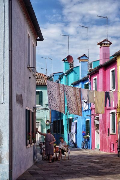 WashDay Washing Drying Clothes Drying Building Exterior Real People Outdoors People Women Chatting Village Life Town Life Painted Houses Colourful Buildings Colourful Houses Painted Chores Italy Burano Summertime Summer Life Women Around The World Woman Women At Work