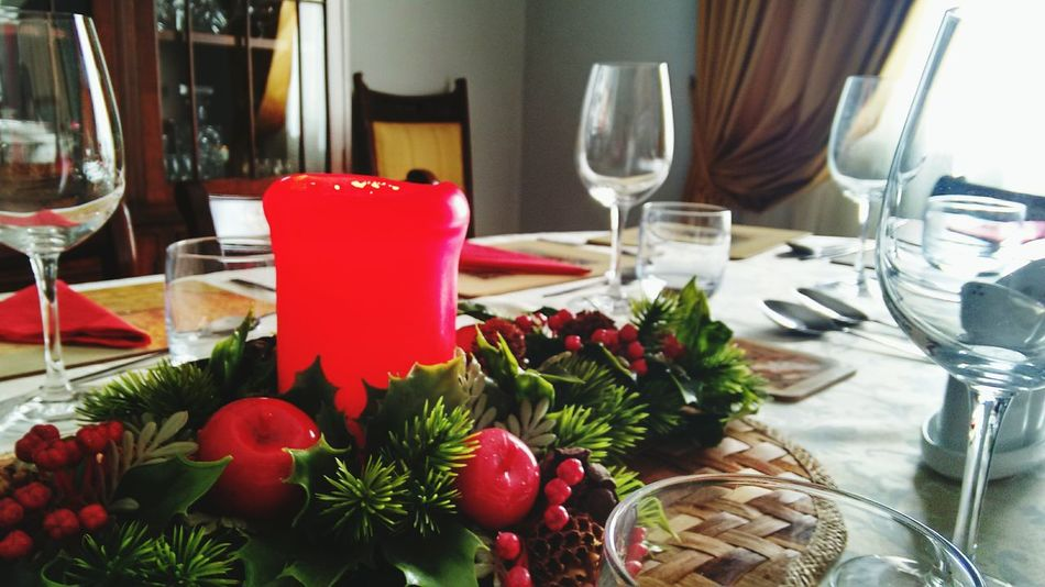 Wineglass Dining Table Tradition Day Red Indoors  Christmas Lunch Warm Sunlight Candle