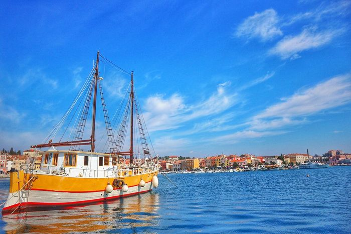Istra Rovinj Sky Clouds Sea Blue Blue Sky And Sea Colorful Yellow Yellow Boat City View  Beautiful View Colorful View Beautiful Day Trip Photo Photography The Great Outdoors - 2017 EyeEm Awards
