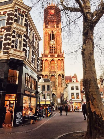 Utrecht Church Tower Church Netherlands Utrecht Building Exterior Architecture Built Structure City Building Real People Street Incidental People Day Religion Travel Destinations Place Of Worship
