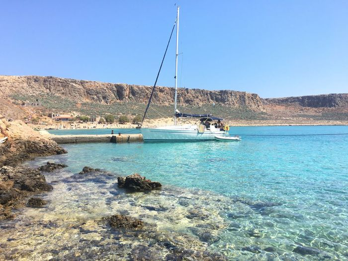 Sea Nature Clear Sky Water Nautical Vessel Blue Outdoors Transportation Day Sky Scenics Beauty In Nature No People Mountain Sailboat Beautiful Crete
