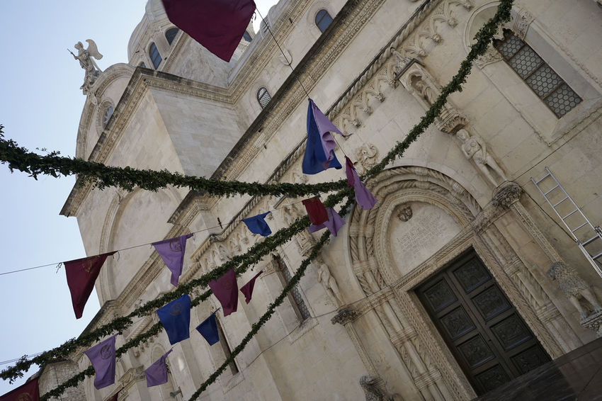 Architecture_collection Cathedral Croatia Ladder Perspective St.Jacob's Architecture Bildfolge Building Exterior Built Structure Day Festival Flags Hanging Jacob Low Angle View No People Photography Place Of Worship Preparations Religion Sky Spirituality