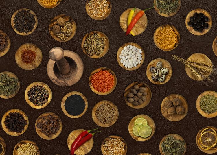 High angle view of food on floor