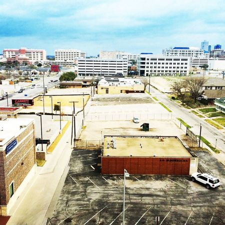 Hospital Row in Fort Worth Texas Blue Sky View From Above Fifth Floor Hospitals Roads Traffic Cars