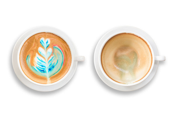 Directly above shot of cappuccino served on white background